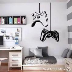 Game Room Decor, Room Wall Decor, Bedroom Wall, Bedroom Boys, Room Setup, Boys Game Room, Boy Room, Home Wall Colour, Gaming Wall Art