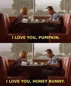 Tim Roth & Amanda Plumber in Pulp Fiction Jean Seberg, Tv Quotes, Movie Quotes, Qoutes, Pulp Fiction Quotes, I Love You Honey, Quentin Tarantino Films, Films Cinema, Tim Roth