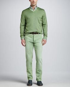Kiton Washed Cashmere-Blend V-Neck Pullover, Check Sport Shirt & Washed Twill Flat-Front Pants - Neiman Marcus