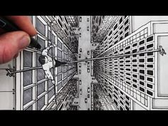 How to Draw using 1-Point Perspective: City Bird's Eye View Tightrope Walker - YouTube