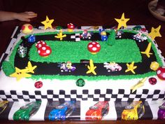Birthday Cake for my sweet 6 year old nephew. Mario Birthday Cake, Super Mario Birthday, Cupcake Birthday Cake, Boy Birthday Parties, Birthday Fun, Birthday Ideas, Mario Kart Cake, Super Mario Cake, Super Mario Party