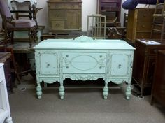 Exceptional seafoam green buffet antiqued dark waxed distress shabby vintage cottage baby station. $600.00, via Etsy.