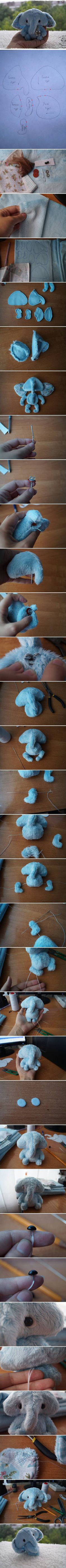 DIY Fabric Little Elephant.  Sooooo cute!