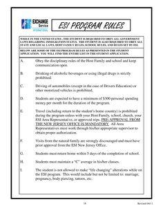 ESI PROGRAM RULES!