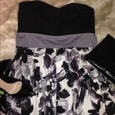 Black Floral Sweetheart Dress  Black floral dress with a sweetheart neckline Features straps to tie in the back...with pockets ! Worn 1x. Size 13. purchased from Windsor. Add a accessories and let the dress speak for you. Dresses Strapless