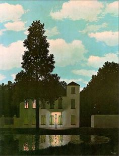 Rene Magritte - Empire Des Lumieres. Notice the sharp contrast of the very bright daylight sky and the house and surroundings dark like night. How the tree is a larger version of the light post.