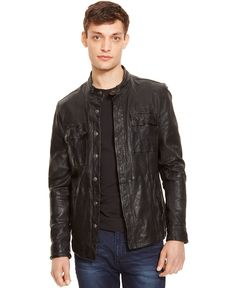 Kenneth Cole New York Leather Dirty Wash Shirt-Jacket