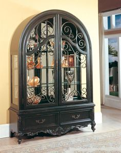 China Cabinet Black Furniture Home Office Kitchen Tuscan