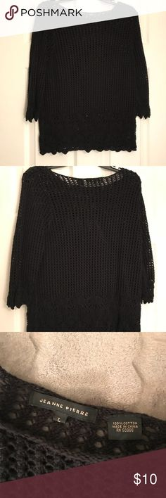 Black crochet style top Black crotchet style top. Very cute. Size large. Worn twice. jeanne pierre Tops
