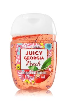 Juicy Georgia Peach - PocketBac Sanitizing Hand Gel - Bath & Body Works - Now with more happy! Our NEW PocketBac is perfectly shaped for pockets & purses, making it easy to kill 99.9% of germs when you're on-the-go! New, skin-softening formula conditions with Aloe & Vitamin E to leave your hands feeling soft and clean.