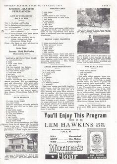 Kitchen Klatter Magazine, January 1940 - Banana Devils Food Cake, Date Pudding, Orange Cake, Honey Cake Frosting, Angel Food Doughnuts, Hot Tamale Pie