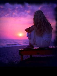 Solitude ~ Sometimes you just need a break. In a beautiful place. Abraham Hicks, Purple Rain, Purple Sunset, Ocean Sunset, Serenity, Ain't No Sunshine, Memorial Poems, Law Of Attraction, No Time For Me