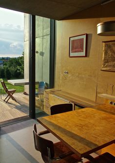 Table And Chairs, A Table, Concrete, House Design, Windows, Building, Interior, Wall, Buildings