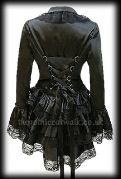 Steampunk/Gothic Jacket ~ Corset-tied back with hi-low hem and lace-edged, ruffled satin bustle & cuffs -  a do-able re-fashion, I think - (from thegothiccatwalkuk)