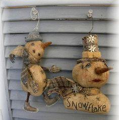 Snow Snowpeople Snowman Winter Christmas Snowflake Ornament Pattern by Mustard Seed Originals PAFA TDIPT