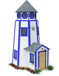 Wooden blue and white lighthouse playhouse for kids
