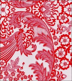 Toile Red Oilcloth to use and make table cloth for dining room table