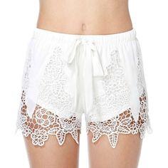 Lace White Bow shorts