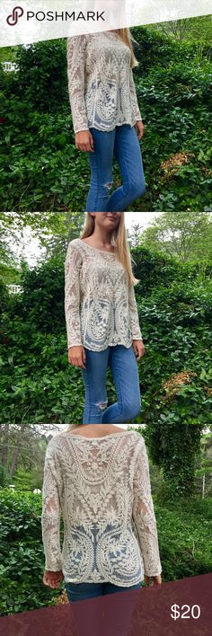 Express lace baroque top. Express lace baroque top. Stunning long sleeve lace and embroidered sheer top. Color is cream, size is small. What sweet romantic vibe you get from this top!  Model: http://instagram.com/clineashton Express Tops Tees - Long Sleeve
