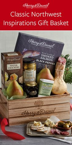 Send a taste of the Northwest to celebrate the holidays with this Christmas gift basket. This reusable wooden crate arrives filled with holiday favorites like Royal Riviera® Pears, Oregonzola® Blue Cheese from Rogue Creamery, and premium salami. Christmas Gift Baskets, Christmas Gifts, Wooden Crates Gifts, Summer Treats, Blue Cheese, Pears, Inspirational Gifts, Favorite Holiday, Fresh Fruit