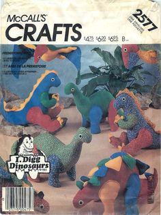 McCall's Crafts 2577 Sewing Pattern for Prehistoric Pets (dinosaurs) by CarlasHope on Etsy