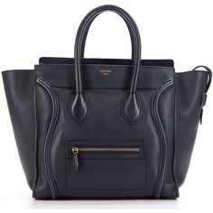 Celine Pre-Owned Celine Navy Calfskin Micro Luggage Tote Bag... (10 145 PLN) ❤ liked on Polyvore featuring bags, handbags, tote bags, black, handbags totes, celine tote, navy blue tote, man bag and purse tote