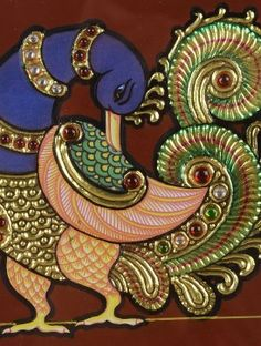 Peacock Tanjore Painting 8.5in x 8.5in x 1in