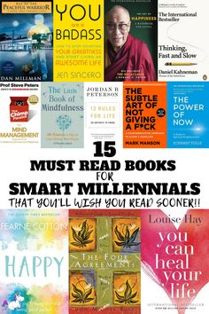 15 Best Happiness Books That Will Change Your Life 15 must read books for smart millenials that you'll wish you read sooner Top Books To Read, Books To Read For Women, Good Books, Books To Read In Your 20s, Motivational Books, Inspirational Books, Book Club Books, Book Lists, Positive Books