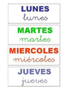 Menta Más Chocolate - RECURSOS PARA EDUCACIÓN INFANTIL: Rotulos de los DÍAS DE LA SEMANA Spanish Classroom, Teaching Spanish, Classroom Activities, Classroom Organization, Preschool Weather Chart, Down Syndrome Activities, Calendar Time, Class Decoration, Curriculum
