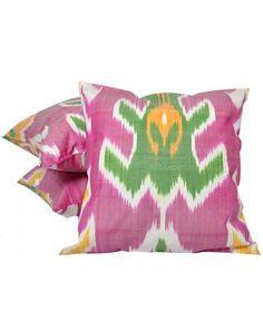 Tropical pink and green ikat pillows