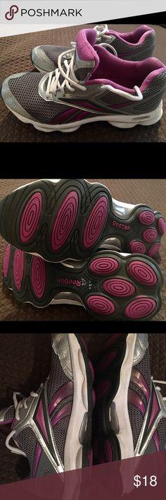 Women's Reebok running shoes reebok runtone women's running show. Grey and purple . In great shape . Worn a few times. Reebok Shoes Athletic Shoes