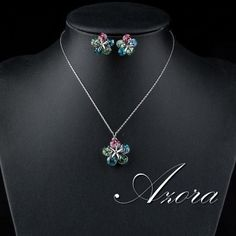 Flower Crystal Necklace and Earrings Set
