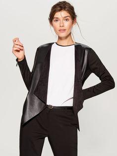 Żakiet z ekologicznej skóry - czarny - TZ505-99X - Mohito - 1 Bell Sleeves, Bell Sleeve Top, Blazers For Women, Faux Leather Jackets, Lady, Tops, Fashion, Ladies Blazers, Moda