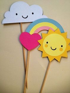 Items similar to You Are My Sunshine Party Picks – Set of 12 on Etsy - anniversaire Sunshine Birthday Parties, Rainbow Birthday Party, Rainbow Theme, Baby First Birthday, Birthday Fun, First Birthday Parties, First Birthdays, Birthday Ideas, Toddler Crafts
