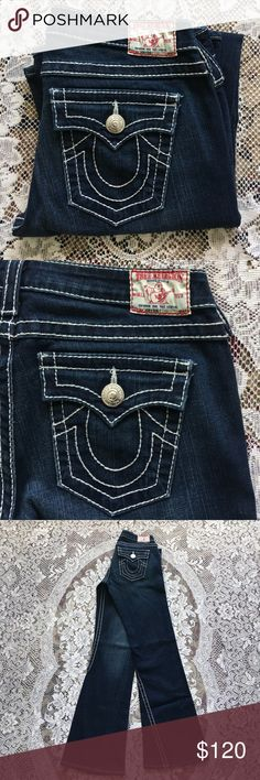 """NWOT❣️ True Religion Joey Big 7 Boot Cut Jeans 29 NWOT! True Religion Joey Big 7 Jeans sz 29. Inseam 32"""". Dark wash with Saddle Stitch Boot Cut Jeans. New without tags. Never worn. In excellent condition. True Religion Jeans Flare & Wide Leg"""