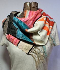 Sophia Handwoven Ecofriendly Nectarine Teal and by pidgepidge, $98.00.  These are the most gorgeous handwoven scarves. Each takes around 8 hours to make.