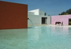 Rene Burri MEXICO. Mexico City. San Cristobal. 1976. Stable, horse pool and house (1967-68) by Luis BARRAGAN (and Andres CASILLAS)
