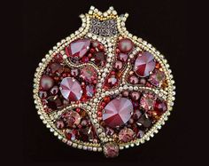 Pomegranate Brooch Beaded Pomegranate Jewelry Pomegranate