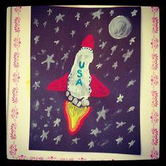 Toddler art rocket ship foot