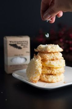 These four-ingredient gluten-free Crispy Salted Coconut Cookies are topped with a light dusting of sea salt. They're the first ones to disappear from the cookie tray! Make ahead and freeze for unexpected company. Cookie Flavors, Cookie Recipes, Dessert Recipes, Sweet Desserts, Gluten Free Cookies, Gluten Free Baking, Coconut Cookies, Holiday Baking, Sweet Tooth