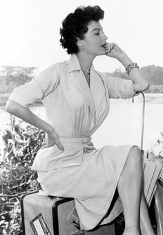 Ava Gardner on the set of Mogambo (1953)