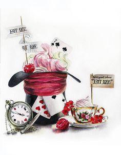 Alice In Wonderland Paintings, Lapin Art, Printable Art, Printables, Wonderland Tattoo, Alice In Wonderland Tea Party, Mad Hatter Tea, Lewis Carroll, Pics Art