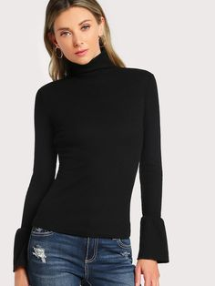 Dotfashion Black Bell Cuff Rib Knit Fitted Tee Women Casual Autumn Clothes  2018 Fashion Tops Elegant Slim Fit High Neck T-Shirt 1840ff235