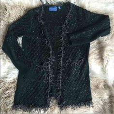 Fringe Lurex Cardigan - Luxe & Stylish! Expect compliments in this women's Simply Vera Vera Wang cardigan sweater. Lurex details with fringe trim gives you a trendy, effortless look. In green/black.  SIZE IS S/M BUT ITS MORE OF A MEDIUM.  PRODUCT FEATURES Lurex accents add a touch of sparkle Hook-and-eye closure Long sleeves 2-pocket FIT & SIZING Ribbed details FABRIC & CARE Acrylic, nylon, polyester, metallic  Thank you for looking and please check out the rest of my closet. Simply Vera…
