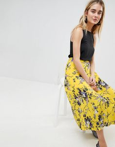 f4b9e2bc1b99 Warehouse Floral Printed Pleat A-Line Midi Skirt