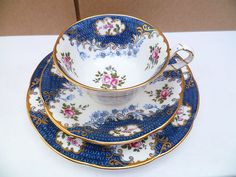 Aynsley China Trio Tea Cup Saucer Plate A 4002 Blue Floral.  Stunning & elegant.  Very pretty.
