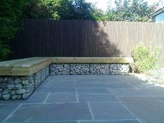 gabion seating - Google Search Outdoor Sectional, Sectional Sofa, Outdoor Furniture, Outdoor Decor, Backyard, Rock Wall, Garden, Google Search, Home Decor