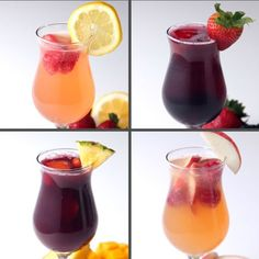 Sangria 4 Ways - -You can find Sangria and more on our website.Sangria 4 Ways - - Snacks Für Party, Party Drinks, Cocktail Drinks, Fun Drinks, Alcoholic Drinks, Beverages, Liquor Drinks, Bourbon Drinks, Vodka Drinks