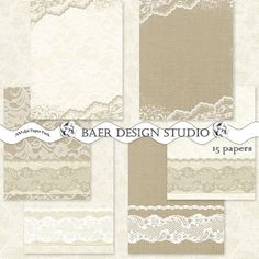 Perfect 5x7 Burlap and Lace Stationery for DIY Printable Wedding Invitations, Thank yous, Save the Date, etc.