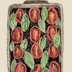 Food illustration - artist study  May van Millingen, How to Draw Food, Artist Study Resources for Art Students, CAPI ::: Create Art Portfolio Ideas at milliande.com , Inspiration for Art School Portfolio Work, Food, Drawing Food, Sketching, Painting, Art Journal, Journaling, illustration, digital, tomatoes